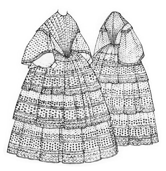 Muslin day dress c.1852-6